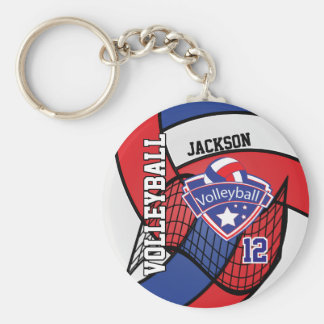 Red, Blue & White Volleyball Design Key Ring