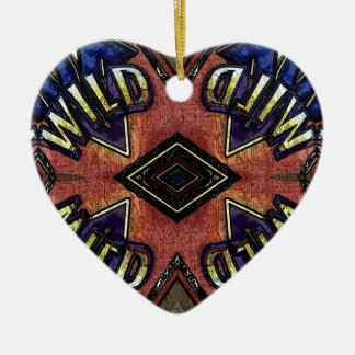 "Red Blue ""Wild"" Card Funky Design Ceramic Heart Decoration"
