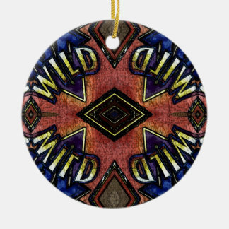 "Red Blue ""Wild"" Card Funky Design Round Ceramic Decoration"