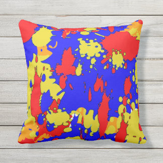 Red Blue Yellow Paint Splatters Outdoor Pillow