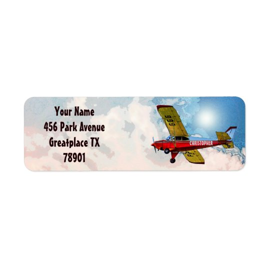 Red Blue Yellow Personal Aircraft With Your Name Return Address Label
