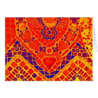red blue yellow reverse mosaic greeting card