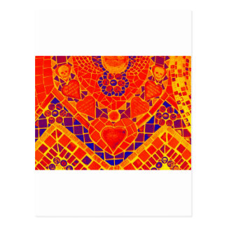 red blue yellow reverse mosaic postcard