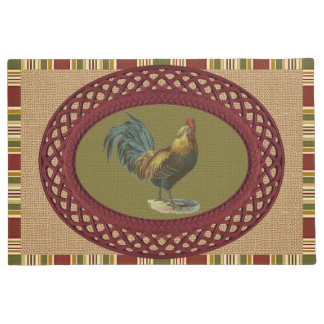Red Blue Yellow Rooster On Faux Jute Burlap Doormat
