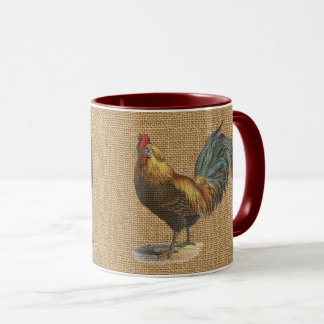 Red Blue Yellow Rooster On Faux Jute Burlap Mug