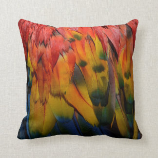 Red Blue Yellow Scarlet Macaw Parrot Feathers Cushion