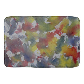 Red Blue Yellow Watercolor Bath Mat