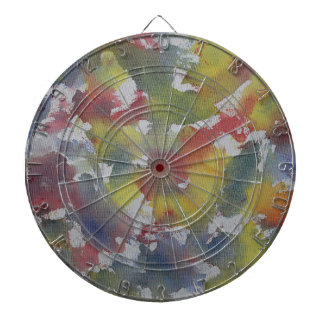 Red Blue Yellow Watercolor Dartboard