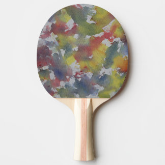 Red Blue Yellow Watercolor Ping Pong Paddle