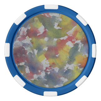 Red Blue Yellow Watercolor Poker Chips