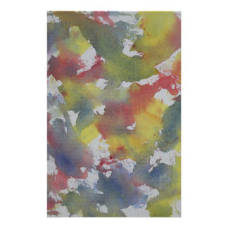 Red Blue Yellow Watercolor Stationery