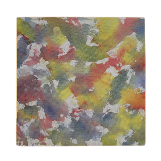 Red Blue Yellow Watercolor Wood Coaster