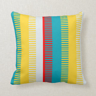Red Blue Yellow White Gray Chic Unique Pattern Cushion