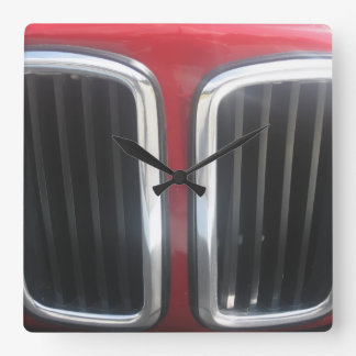 Red BMW Twin Kidneys Grill Square Wall Clock