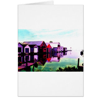 Red Boathouse On The Lake Card