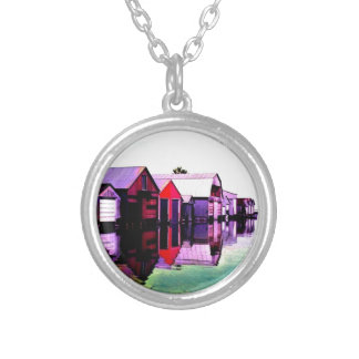 Red Boathouse On The Lake Silver Plated Necklace