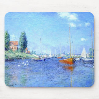 Red Boats Water Beach Monet Mousepad