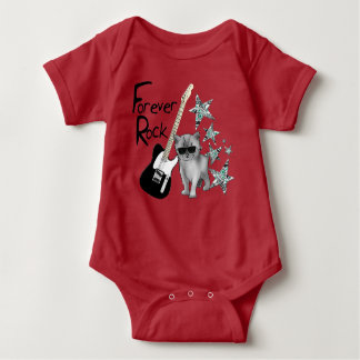"""Red bodystocking baby """"Forever rock'n'roll"""", cat, Baby Bodysuit"""