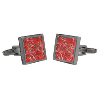 Red Boho Chic Retro Hippy Paisley Bandanna Gunmetal Finish Cufflinks