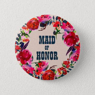 Red Boho Floral Maid of Honor Wedding Button
