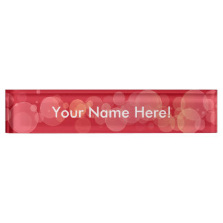 Red Bokeh Circles Desk Nameplate