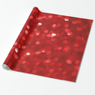 Red Bokeh Glitter Print Wrapping Paper