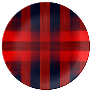 Red Bokeh Plaid Plate