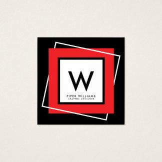 Red Bold Geometric Square Frame Monogram Square Square Business Card