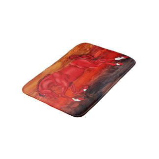 Red Bolting Fantasy Horse Bath Mat