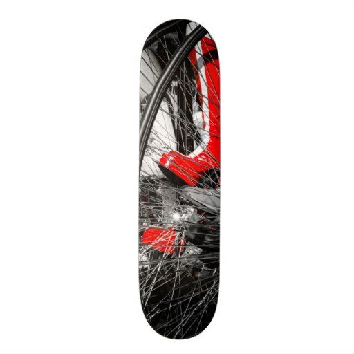 Red Boot in Penny Farthing Stack Skate Board