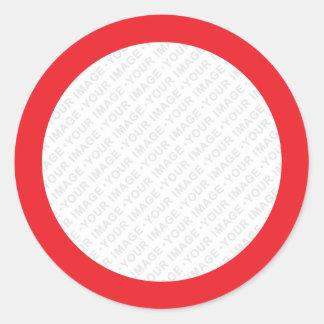Red border custom image round stickers