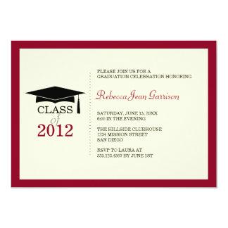 "Red border ecru cap tassel graduation announcement 5"" x 7"" invitation card"