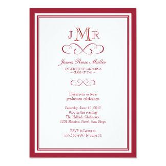 Red border frame classy monogram graduation 5x7 paper invitation card