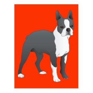 Red Boston Terrier Puppy Dog Postcard