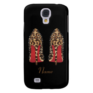 Red bottoms stilettos in leopard with Name, Xmas Galaxy S4 Cover