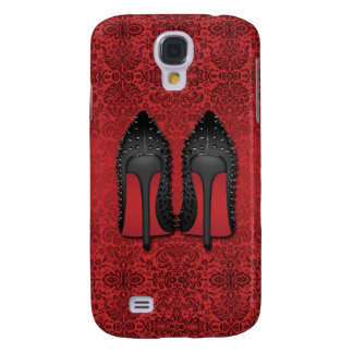 Red Bottoms stilettos shoes in RED DAMASK Galaxy S4 Case