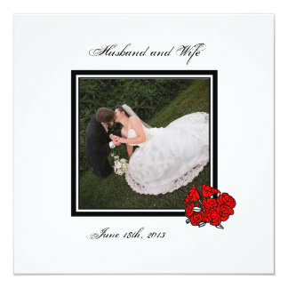 """Red Bouquet Wedding Photo Thank You 5.25"""" Square Invitation Card"""