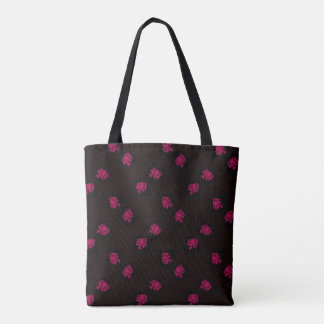 Red Bouquets on Black Tote Bag