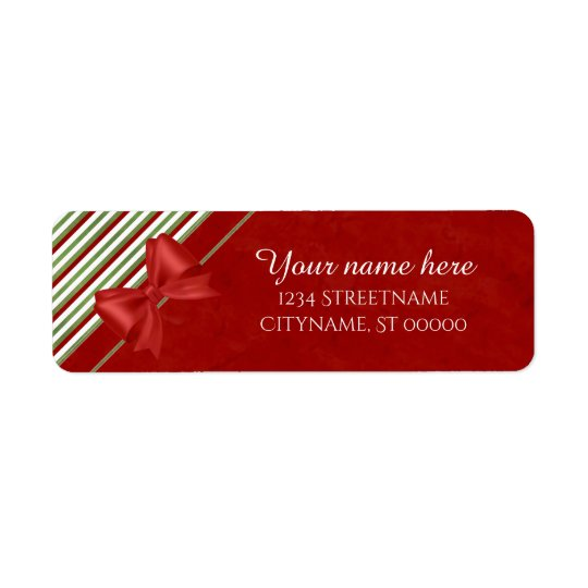 Red Bow and Stripes Return Address Label