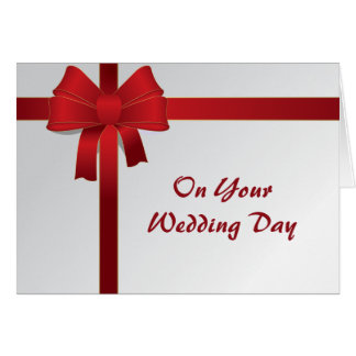Red Bow Blended Family Wedding Card Greeting Card