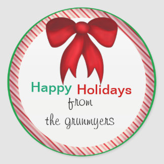 Red Bow Candy Stripe Christmas Round Stickers
