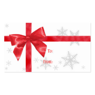 Red Bow Christmas Gift Tag Business Card Templates