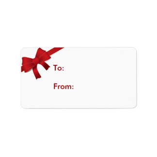Red Bow Christmas Gift Tag Address Label
