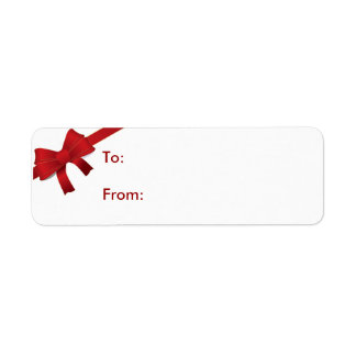 Red Bow Christmas Gift Tag Return Address Label