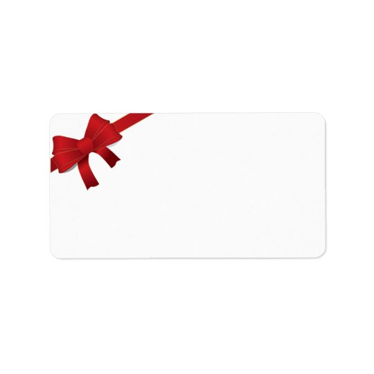 Red Bow Christmas Holiday Address Label