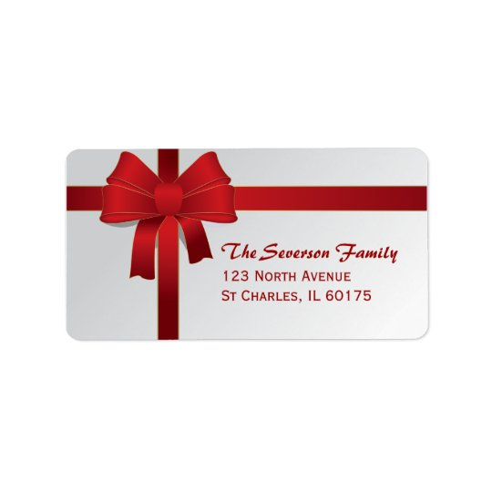 Red Bow Christmas Holiday Return Address Address Label
