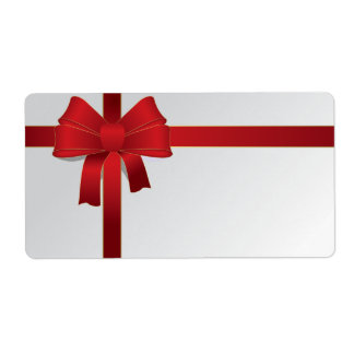 Red Bow Christmas Holiday Shipping Label