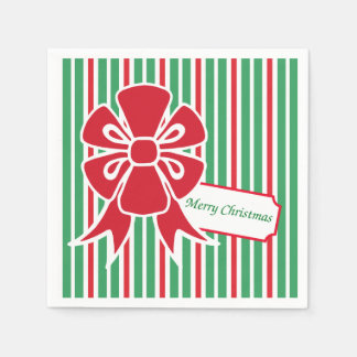 Red Bow Christmas Party Paper Napkins