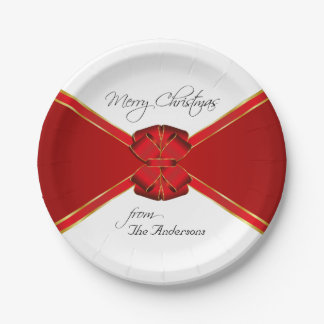 Red Bow Custom Christmas Party 7 Inch Paper Plate