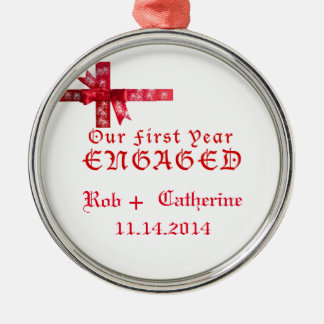 Red Bow Engagement Ornament